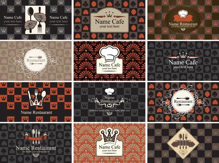 kartenspiel: Set von Visitenkarten f�r Restaurants mit den Elementen des Kartenspiels Illustration