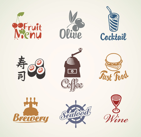 set of characters on the theme of food and drinks Vector