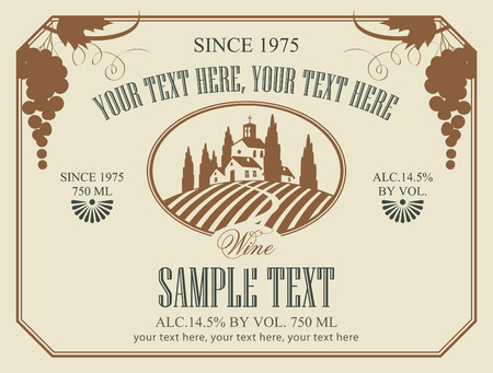 wine label with a landscape of vineyards