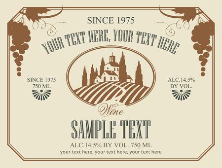 vinho: rótulo de vinho com uma paisagem de vinhedos Ilustração