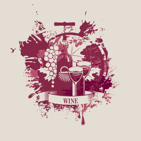 vector banner with a bottle of wine and grapes in spots and splashes Vector
