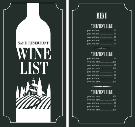 wine road: price menu with a bottle and a landscape with a church and grapes Illustration