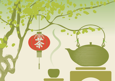 jasmin: Chinese landscape with a tree, a kettle and tea hieroglyph