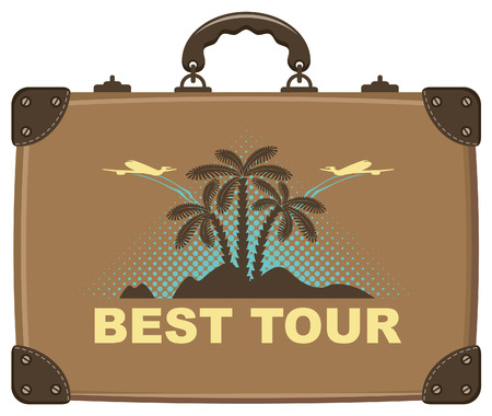 tour operator: suitcase for travel with a picture of the island, palm trees on the sea with the aircraft Illustration