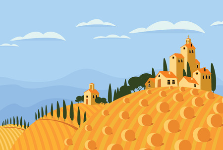 vector landscape with village and fields with haystacks Vector