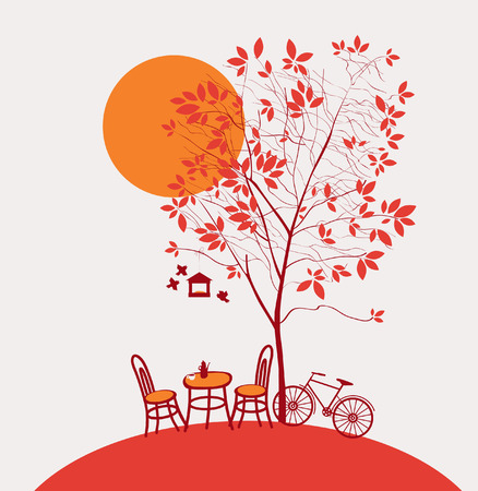 coffee leaf: autumn landscape with a table and chairs under a tree Illustration