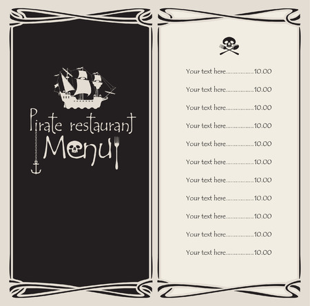 vectors menu with pirate sailing ship and the Jolly Roger Vector