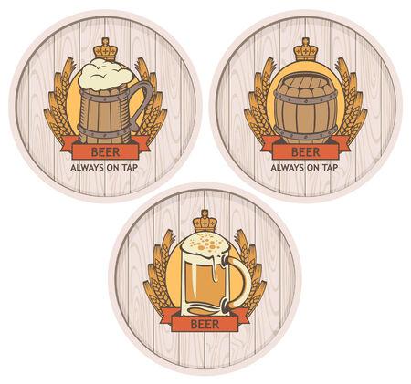 casks: set of labels to beer on wooden casks