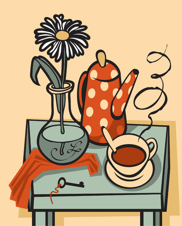 tea ceremony: vector still life with cup of tea, a kettle and a flower in a vase on the table