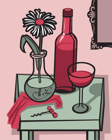 natura morta con fiori: vettore still life con un bicchiere di vino, una bottiglia e un fiore in un vaso sul tavolo Vettoriali