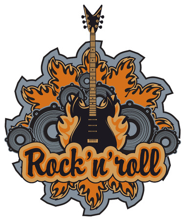 rock n: emblem with an electric guitar, speakers inscription rock and roll Illustration