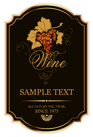 label for wine with grapes on a black background with gold Vectores