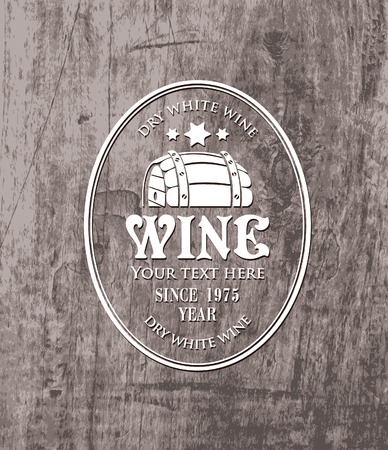 vector label for cask of wine on the background of wooden boards Vector
