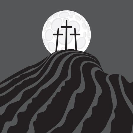 calvary: Mount Calvary with three crosses at night under the moon Illustration