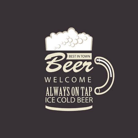 beer card: Glass of beer with foam on black background Illustration