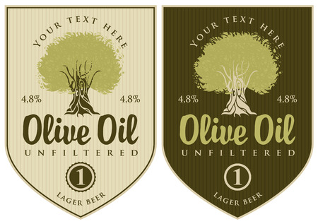 set of labels for olive oil with olive tree Vector
