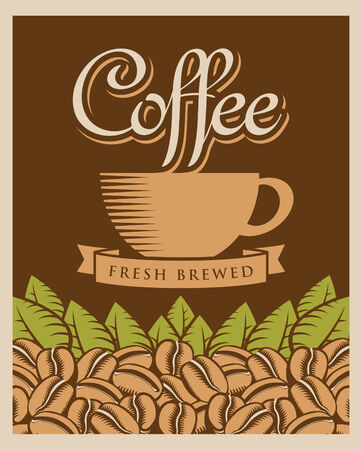 savor: retro banner with coffee cup and beans