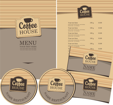 set for the coffee house menu, business cards and coasters for drinks Vector
