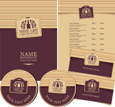 ensemble d'éléments pour carte des vins de conception restaurant ou boutique Vecteurs