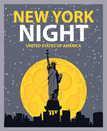banner with of New York City, Statue of Liberty at night under the moon Vector