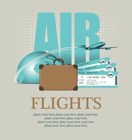 agencia de viajes: Vector de la bandera para el transporte aéreo con una maleta planeta avión y billetes de avión Vectores