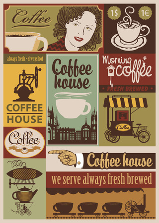 set of banners on the theme of coffee in retro style 일러스트
