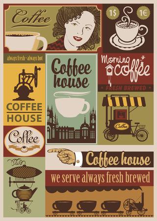 planche: ensemble de banni�res sur le th�me du caf� dans le style r�tro