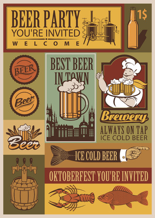 bottle cap: set of retro banners on beer and brewery