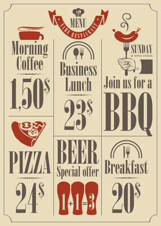 price list for the restaurant menu Vector