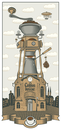 coffee grinder: cityscape with retro coffee house and grinder with roof