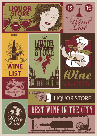 stopper: set of retro banners on the wine and  liquor store