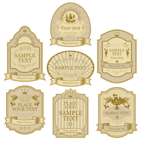 set of vector labels beige gold color Vector