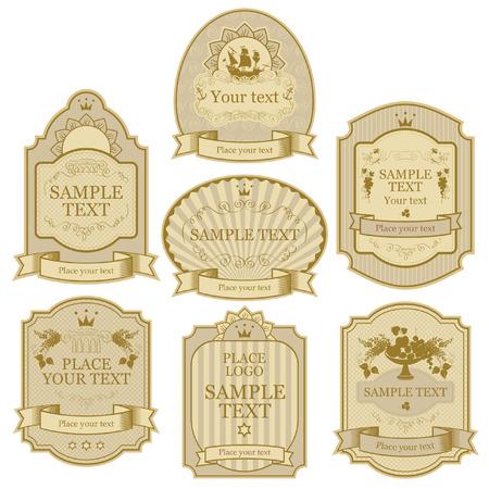 set of vector labels beige gold color Vector