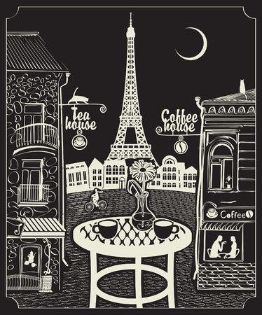 Figure Parisian cafe with a view of the Eiffel Tower at night under the moon Vettoriali