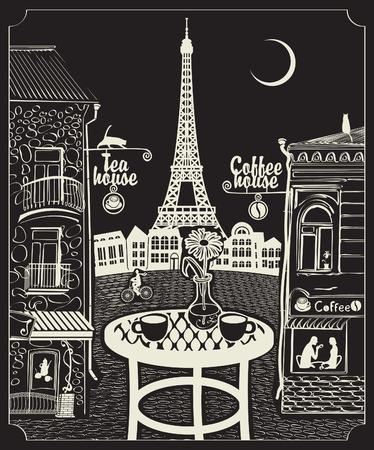 vintage lady: Figuur Parijse café met uitzicht op de Eiffeltoren 's nachts onder de maan Stock Illustratie