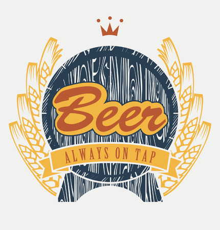 beer barrel: coat of arms with beer keg and wheat