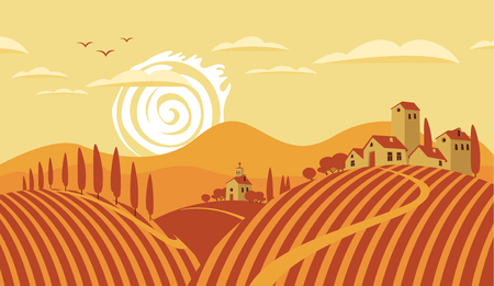 Italian countryside landscape with vineyards and the mountains Illustration
