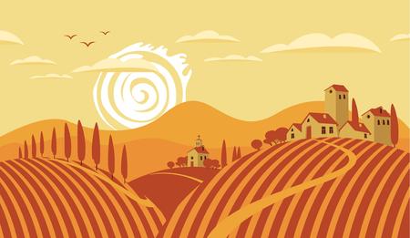 zypresse: Italienische Landschaft Landschaft mit Weinbergen und den Bergen Illustration