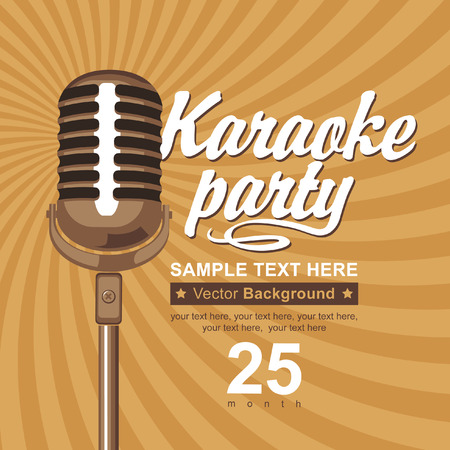retro microphone: banner with microphone for karaoke parties Illustration