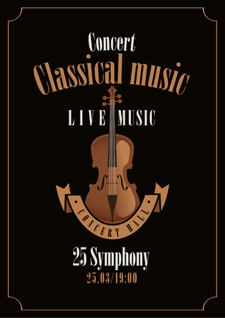 folk music: poster for a concert of classical music with violin Illustration
