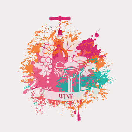 banner with a bottle of wine and grapes in spots and splashes Vector