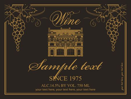 wine label: label for wine with an old house and a bunch of grapes