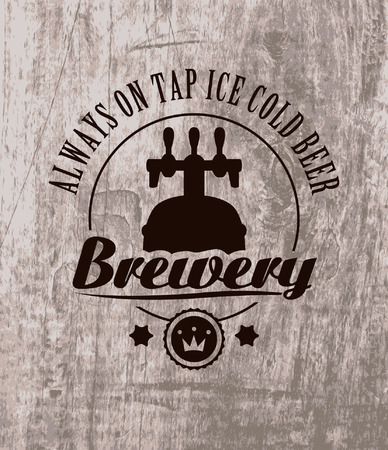 label to beer on wooden casks Vector