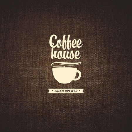 banner with a cup of coffee on a background fabric texture