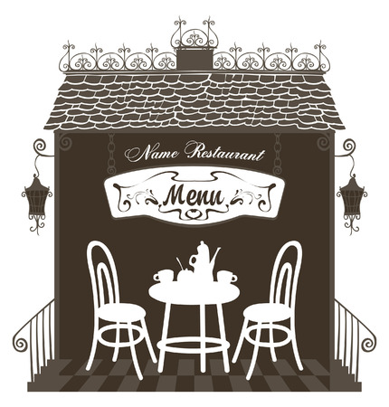cafe table: interior of the restaurant in the old town with a table, chairs and a menu labeled
