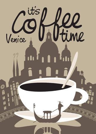 arbol de cafe: Cuadro del vector con la taza de caf� en el fondo de Venecia