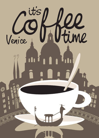 coffee shop: Vector picture with coffee cup on the background of Venice