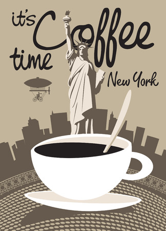 cup of coffee on a background of the Statue of Liberty in New York Vector