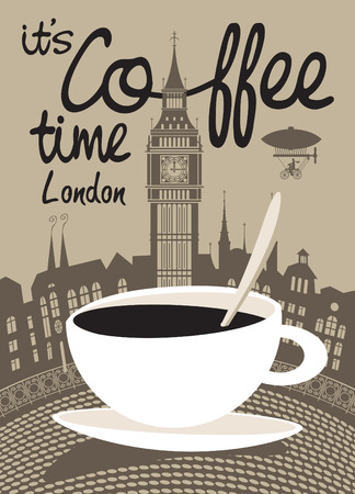 cup of coffee on a background of London and Big Ben Vector