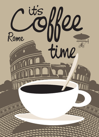 Vector picture with coffee cup on the background of Rome Colosseum 일러스트